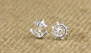 anchor earrings sterling silver anchor earring stud honolu on artfire