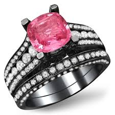 Pink Diamond Wedding Ring by Black Gold Pink Sapphire Heart And Flowers Engagement Ring Unique