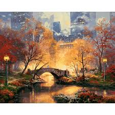 decor painting acrylic paint by number kit scenery oil painting diy home wall decor