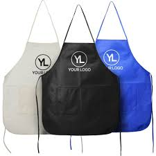 Print On Aprons Promotional Non Woven Full Aprons With Custom Logo For 1 17 Ea