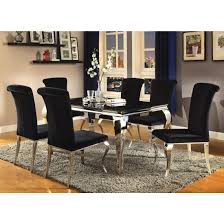 coaster carone rectangular dining table set in stainless steel