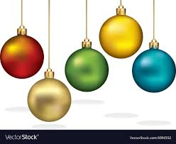 color ornaments hanging on gold thread vector image