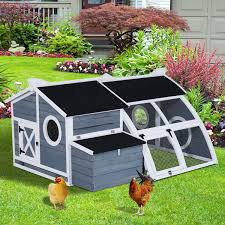 Backyard Chicken Houses by Pawhut Deluxe Backyard Chicken Coop Barn With Curved Outdoor Run