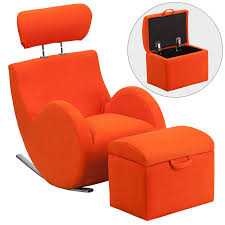 series orange fabric rocking chair with storage ottoman