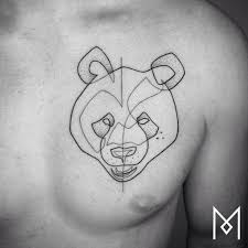 continuous line panda bear tattoo on the left side of