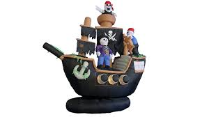 pirates halloween decorations amazon com 7 foot inflatable pirate ship with skeleton crew