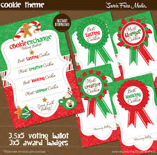 holiday cookie exchange voting ballot and award badges