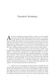 executive summary public participation in environmental