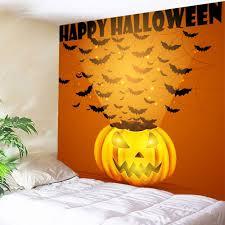 pumpkin bats halloween wall tapestry orange w inch l inch in