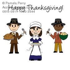 illustration of pilgrims holding thanksgiving foods