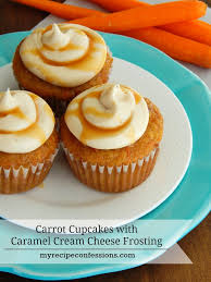 carrot cake cupcakes with caramel cream cheese frosting my