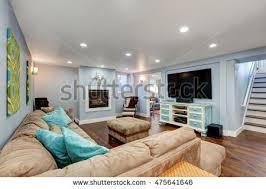pastel blue walls basement living room stock photo 475641646