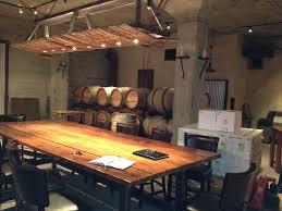 barrel stave light fixture cerruti cellars oak interior