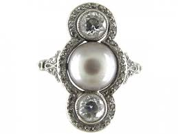 natural grey pearl u0026 diamond art deco ring the antique jewellery