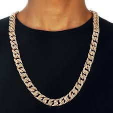 long necklace men images Full rhinestone gold color chain necklace mens miami cuban men jpg