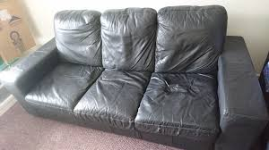 Leather Sofas Leeds 3 Seater Black Faux Leather Sofa For Sale In Leeds West