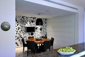 Chairs Israel Israel Toile Wallpaper Black And White Dining Room Contemporary