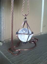 crystal ring necklace images Crystal ball necklace quartz sphere healing crystal sphere copper jpg