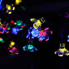 Outdoor Fairy Lights Solar by Solar Powered Flower String Lights 7m 50 Led Blossom Multi Color