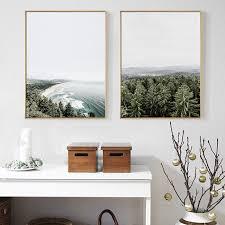 Nordic Home Decor Nordic Home Decor Green Forest Wall Sea Landscape Canvas