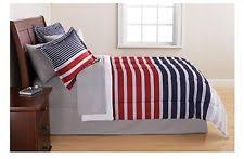 Red And Grey Comforter 7pc Varsity Plaid Full Bedding Set Grey Red Blue Stripes