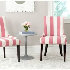 White Leather Dining Chairs With Nailheads Safavieh Lester Pink U0026 White Linen Blend Dining Chair Set Of 2