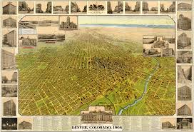 Map Of Denver Colorado by Birdseye View Of Denver Colorado 1908