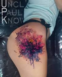 watercolor flower on side thigh by uncl paul knows