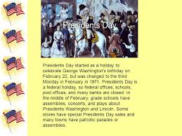 presidents day s day memorial day independence day