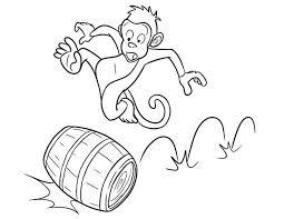 monkey running barrel coloring monkey running