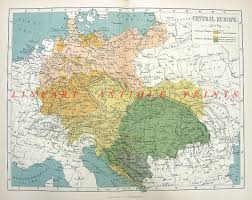 Map Central Europe by Central Europe Color Map Old 1882 Art Print Engraving Ebay