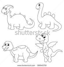 cute cartoon dinosaurs coloring book stock vector 425698480