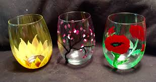 paint craze spring themed wine glass painting chicago sam u0027s