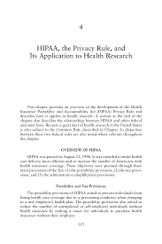 4 Hipaa The Privacy Rule And Its Application To Health Research