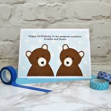 boys personalised twins birthday card by jenny arnott cards