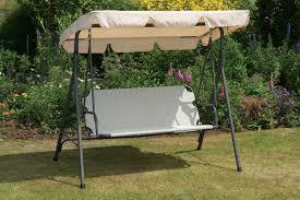 Aluminium Garden Chairs Uk Uk G Cream Garden Swing Seat Hammock Metal Frame Weatherproof