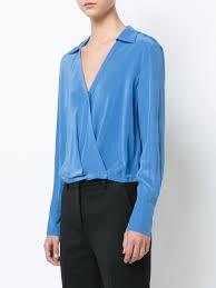 dvf blouse dvf diane furstenberg wrap blouse designer colour denim