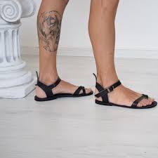 mens gladiator sandals black leather ankle cuff goth specks