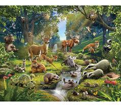 walltastic jungle adventure wallpaper mural 8ft x 10ft amazon co walltastic animals of the forest wallpaper mural multi colour