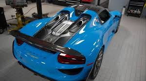 blue porsche spyder porsche 918 spyder with riviera blue paint and weissach package