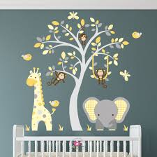 jungle decal elephant nursery wall stickers mustard and grey zoom