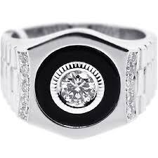 mens black rings diamond onyx solitaire ring 18k white gold 0 70 ct