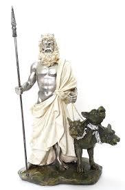 greek god of underworld hades with cerberus statue pluto roman