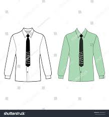 long sleeve mans shirt tie outlined stock vector 490295029