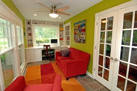 Home Office With Sofa Modern Home Office With Built In Bookshelf By Jim Karlovec