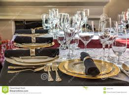 Gold Table Setting by Christmas Table Setting Stock Photo Image 36057060