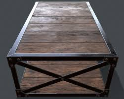 industrial style coffee table 3d asset cgtrader