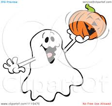 cartoon of a halloween ghost holding up a jackolantern royalty