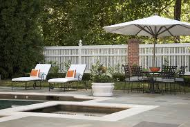fence decor patio traditional with patio furniture faceted planter