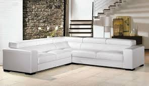 Elegant Living Room Furniture by Furniture L Shaped White Leather Sectional Sofa With Black Base
